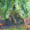 Rooster with chickens beneath an ancient olive tree. 2015. Anatolkin